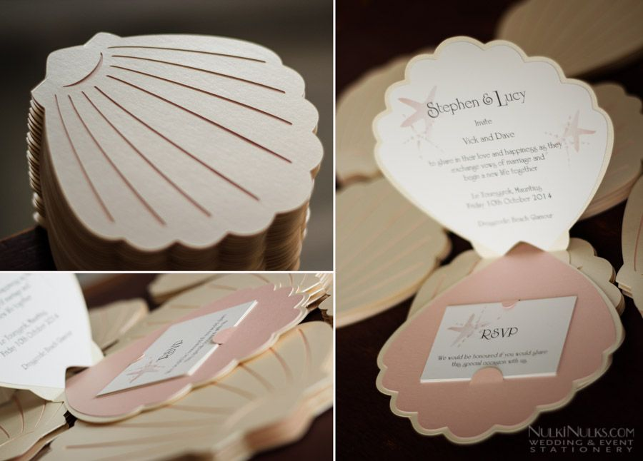 sea shell themed wedding invitations and accessories real weddings stationery by nulki nulks. Black Bedroom Furniture Sets. Home Design Ideas