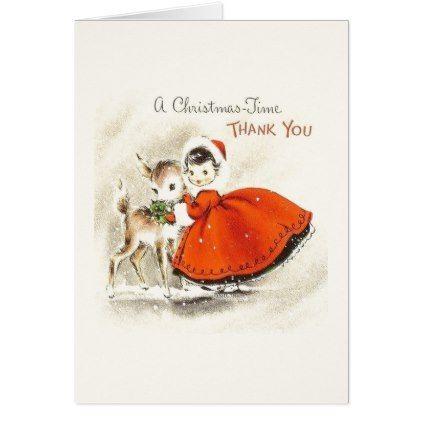 Vintage Christmas Thank You Card Xmascards Christmaseve Christmas
