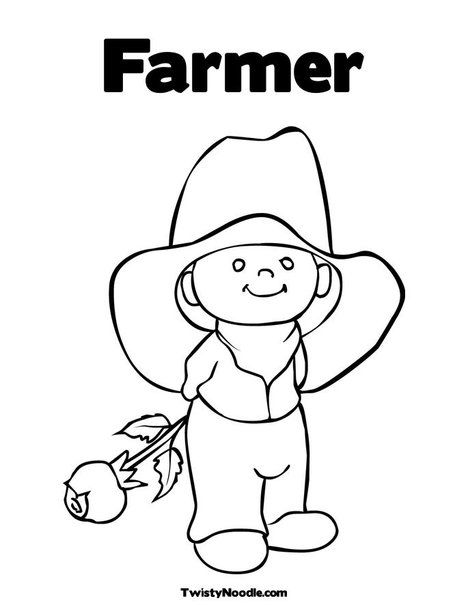 Farmer Coloring Page Line Art Drawings Art Drawings Simple