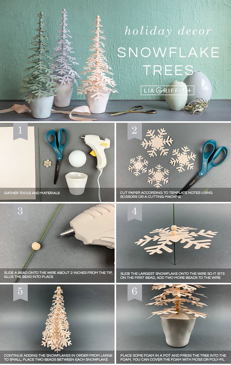 Paper Snowflake Trees For Your Holiday Decor Lia Griffith Christmas Paper Holiday Crafts Christmas Diy