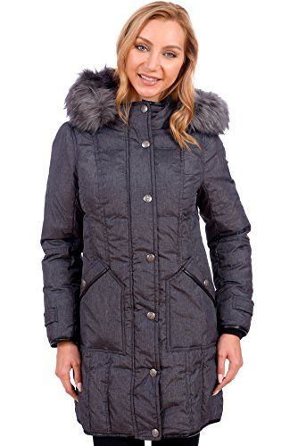 bdb17d40a39 St.Anton Women's Parka Winter Coat with Faux Fur Lined Hood (Charcoal,  Small)