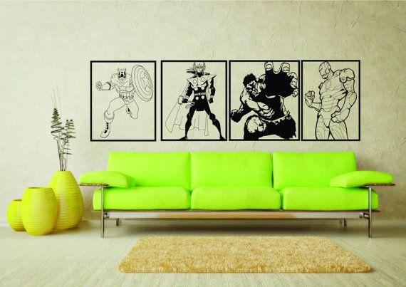Large A2 Marvel Comics Avengers Captain America Hulk Iron Man Thor Wall Art Vinyl Sticker Home Decor Living Ro Avengers Wall Art Sticker Wall Art Avengers Room