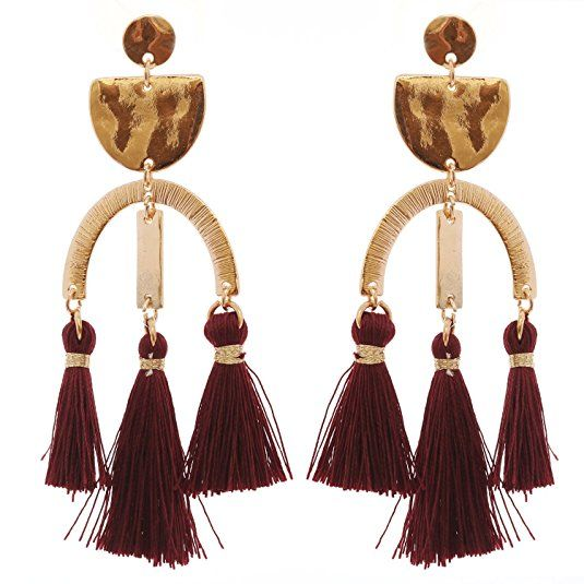b8dbfdac4dc3d5 Rosemarie Collections Women's Modern Design Triple Tassel Chandelier  Earrings