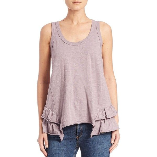 Wilt Ruffle-Hem Tank Top (1.360 NOK) ❤ liked on Polyvore featuring tops, apparel & accessories, orchid, scoop neck tank top, pink pullover, racer back tank top, sleeveless tank and cotton tank top