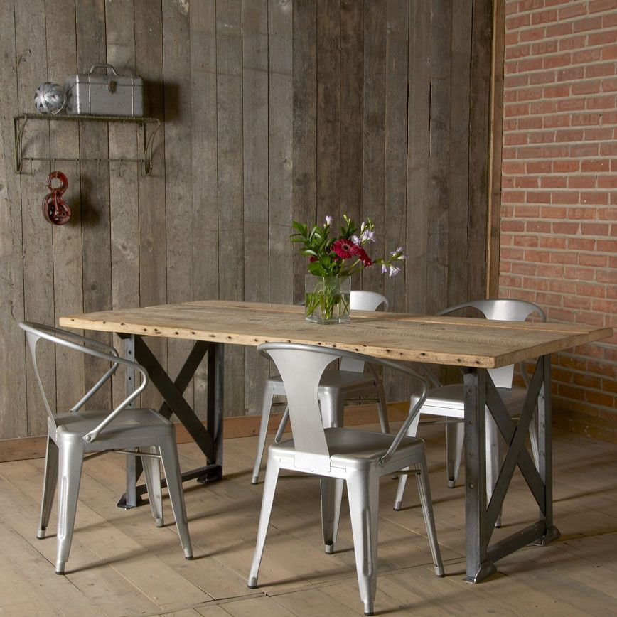 Idea for lake house table, legs of table and metal chairs Salvaged ...