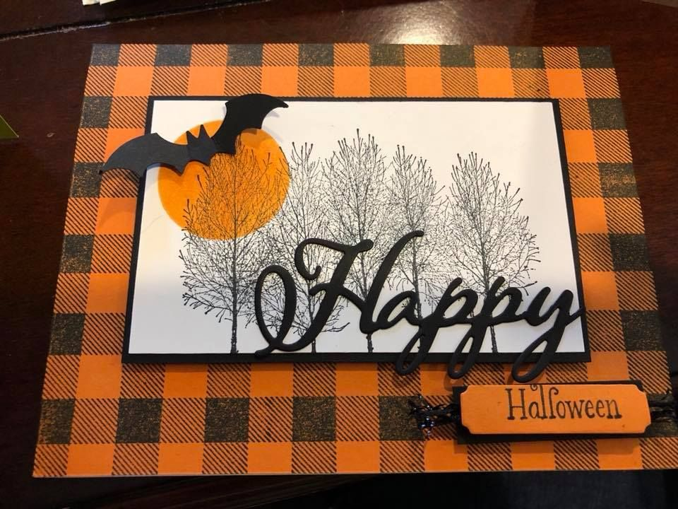 Halloween Card Pumpkin Pie Card Stock And Stamped The Buffalo Check Background Stamp In Black B Halloween Cards Handmade Halloween Cards Diy Halloween Cards
