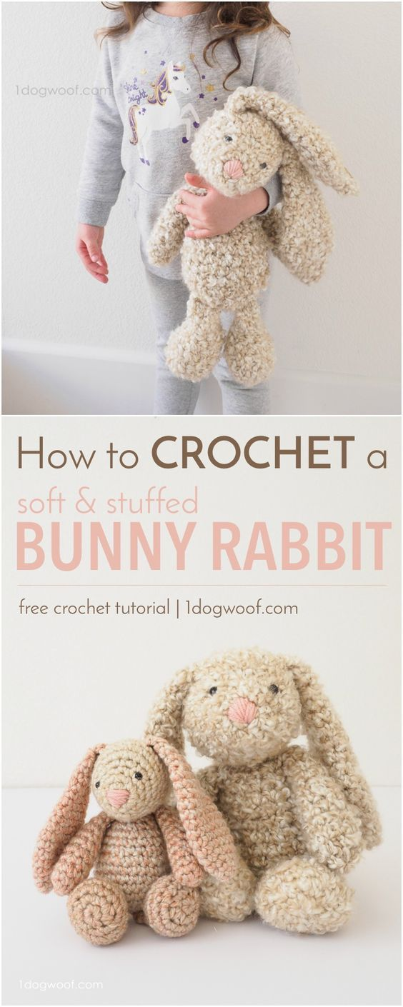 Classic Stuffed Bunny Crochet Pattern for Easter | Pendientes ...