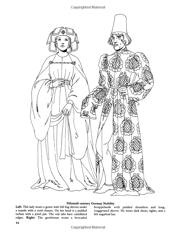 Medieval Fashions Coloring Book (Dover Fashion Coloring Book ...