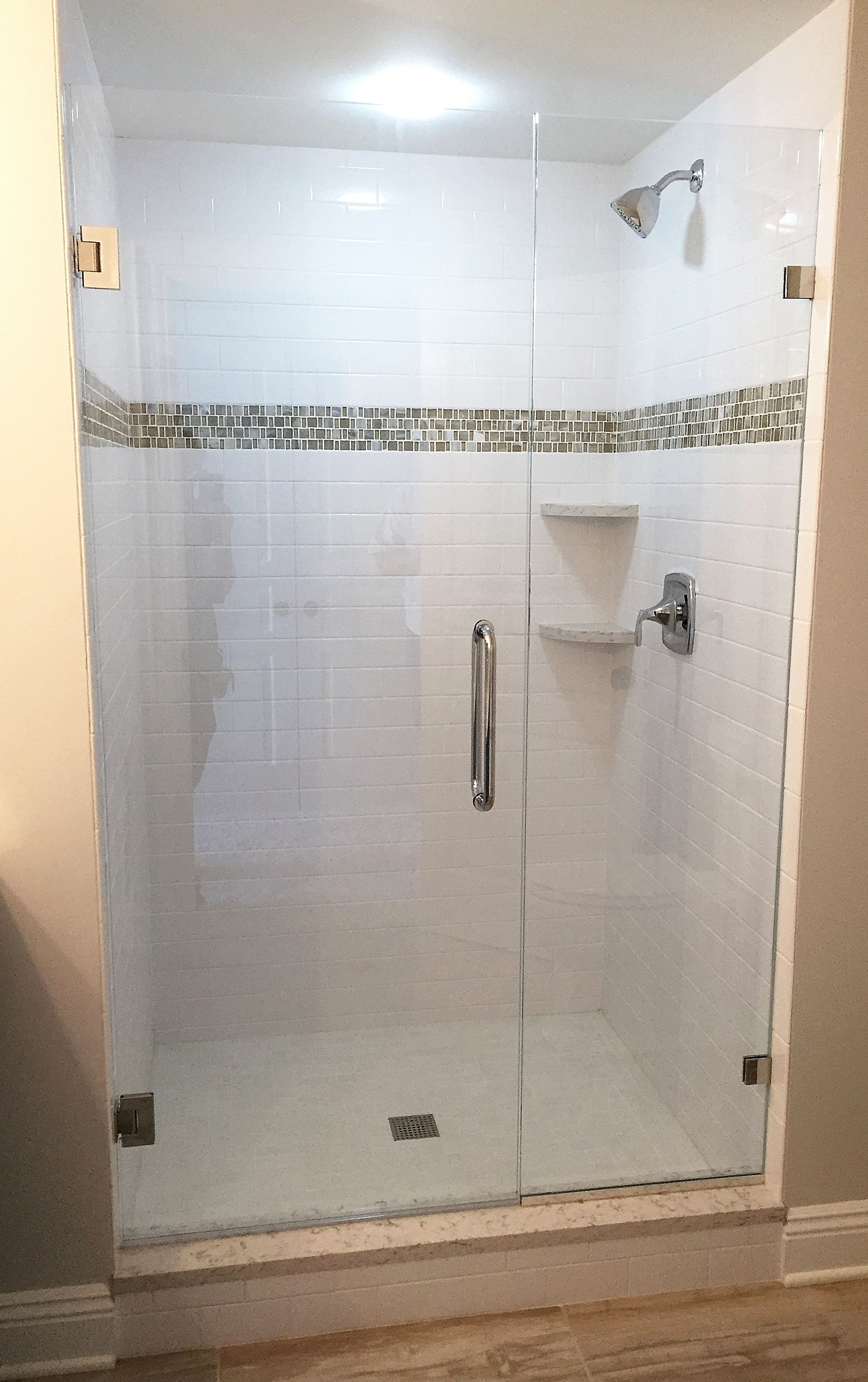 Frameless Shower Enclosure Door Panel With Wall Mounted Clips