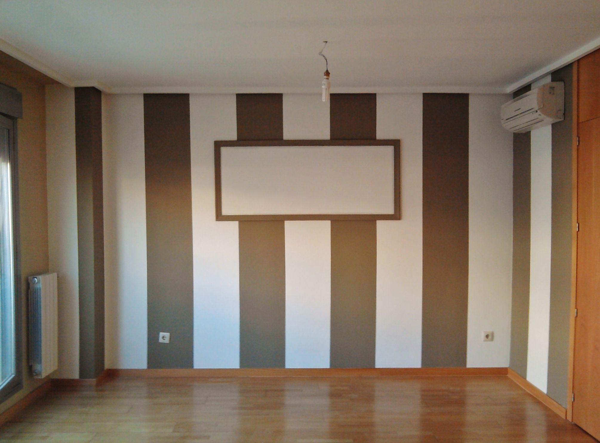 Pintura decorativa rayas dos colores decoracion paredes pintura decorativa papel - Pintura decorativa paredes ...