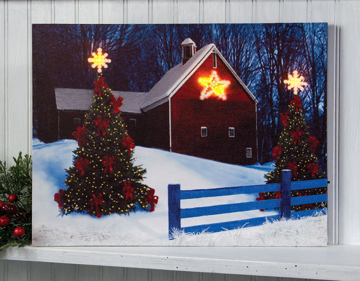 Radiance Lighted Canvas Red Barn With Lighted Christmas Star X46859 Light Up Canvas Lighted Canvas Pictures Radiance Lighted Canvas