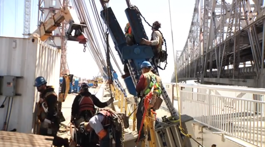 PHOTOS, VIDEO: Crews Construct World's Largest Self-anchored Suspension Bridge In California, crews have been working for more than 10 years to construct the largest self-anchored suspension (SAS) bridge in the world. See close-up photos and video of the project:
