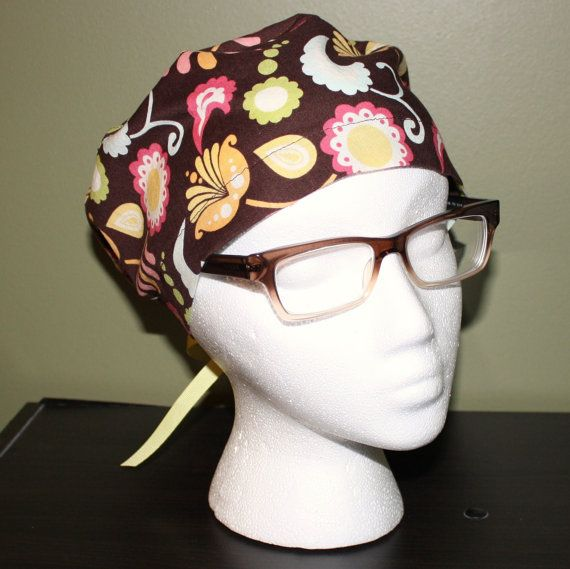 Pastel Floral Surgical Scrub Hat by FourEyedCreations on Etsy, $15.00