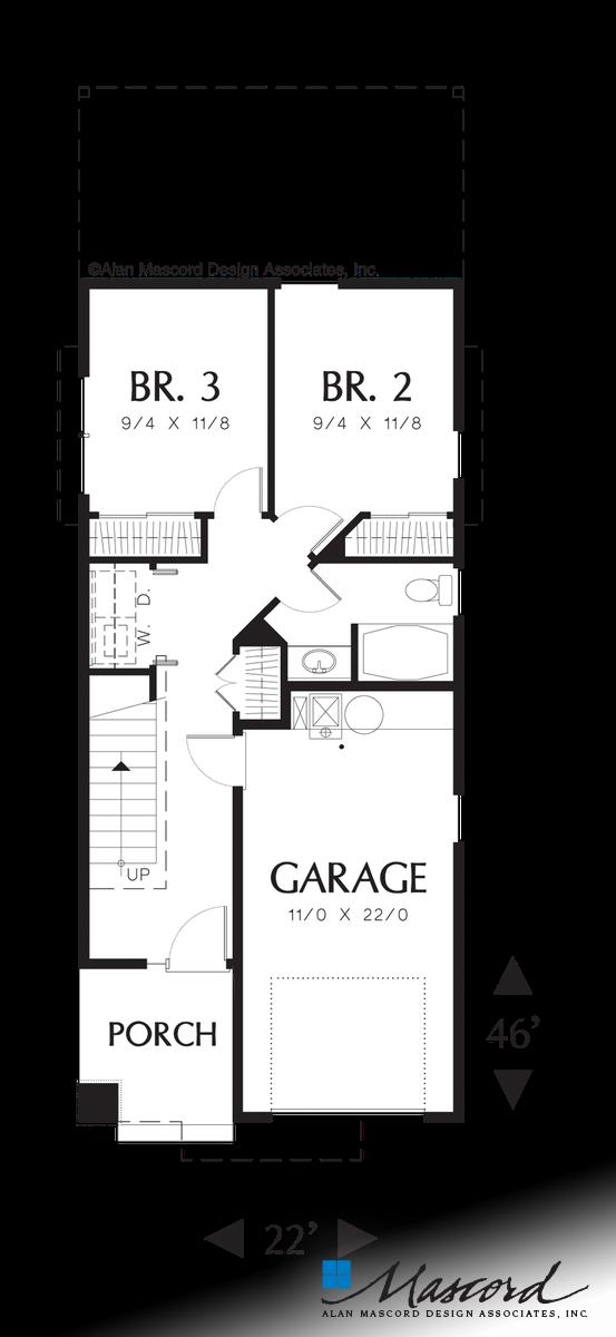 Mascord House Plan 2178 The Jamieson Main Floor Plan House Plans Narrow House Plans Craftsman House