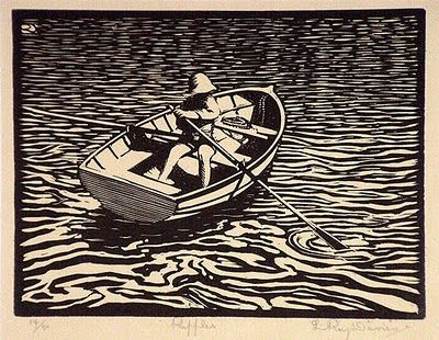 Roy Davies. I thinkits a woodcut but it could be lino, no matter I've always enjoyed how water is depicted in these sorts of prints. Great stuff ;)