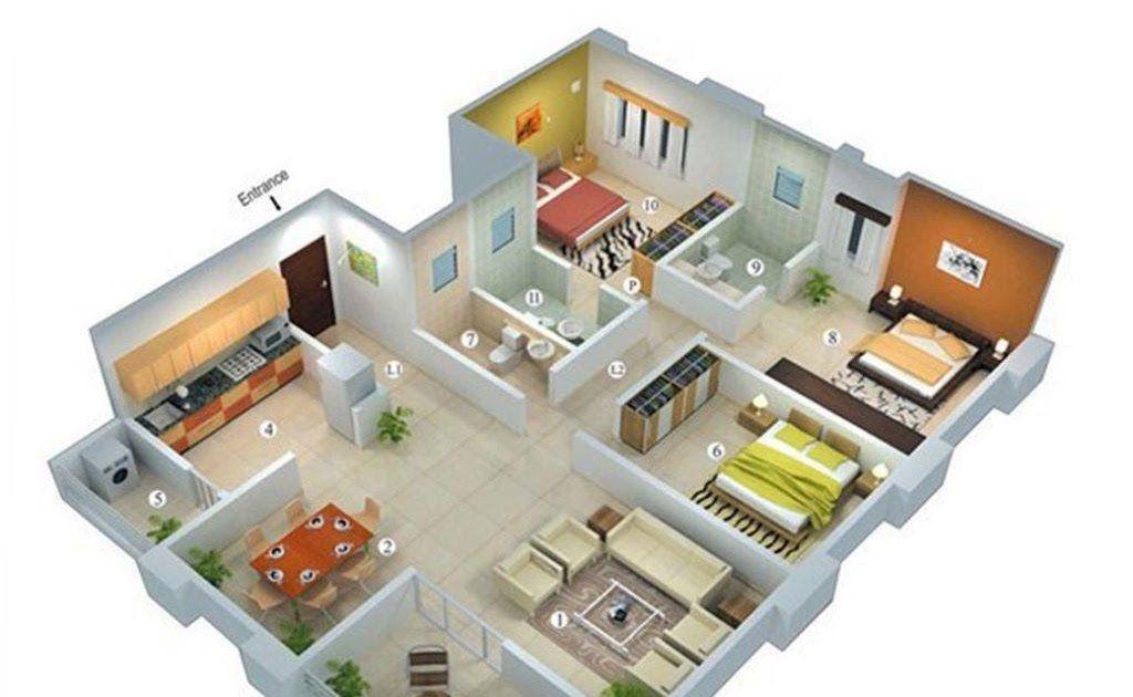 Gambar Gambar Denah Rumah Sederhana 4 Kamar Tidur Terbaik 4100 Koleksi Gambar Rumah Minimalis Sederh In 2020 Small House Plans Three Bedroom House Plan House Layouts