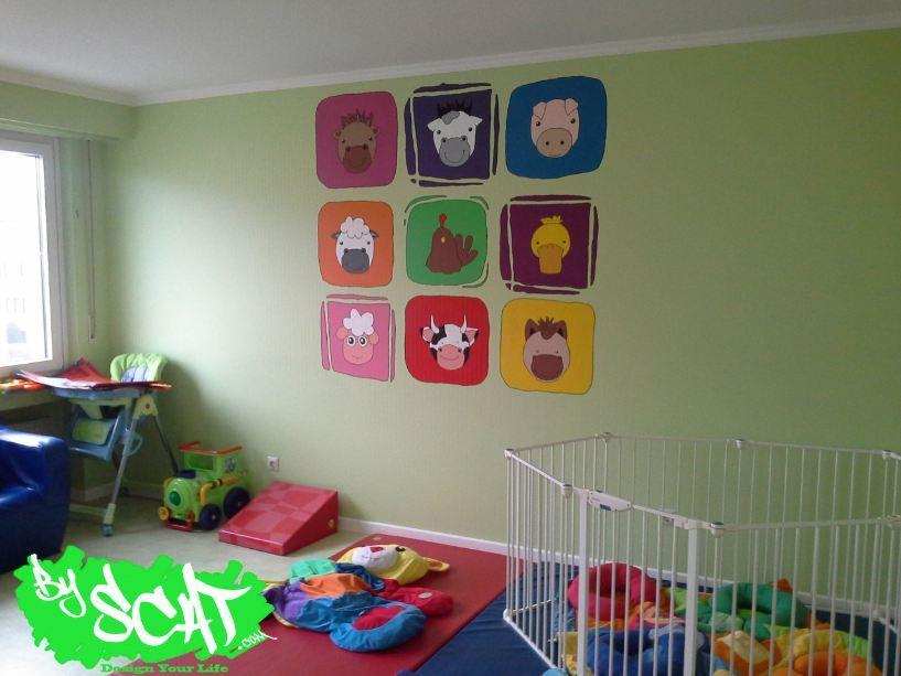 Idée peinture murale Bébé Pinterest Animaux - peinture chambre bebe fille