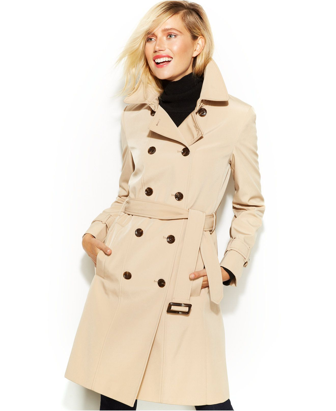 465365b97a4 Calvin Klein Double-Breasted Belted Trench Coat - Coats - Women - Macy s