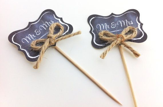 Chalkboard Picks For Cupcakes-Weddings-Plants /& More-12 Two-Sided Picks~Write On