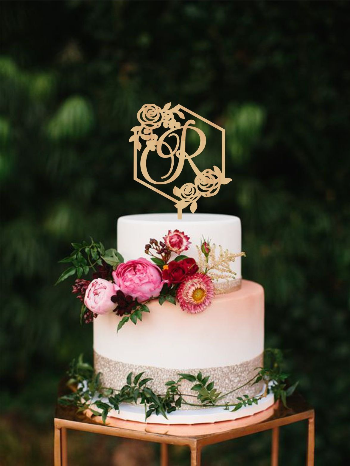 Wedding cake topper letter R, Hexagon Monogram R cake