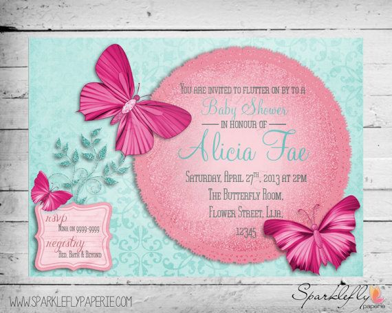 Butterfly Themed Bridal Shower Baby Shower Birthday Party – Butterfly Party Invitation
