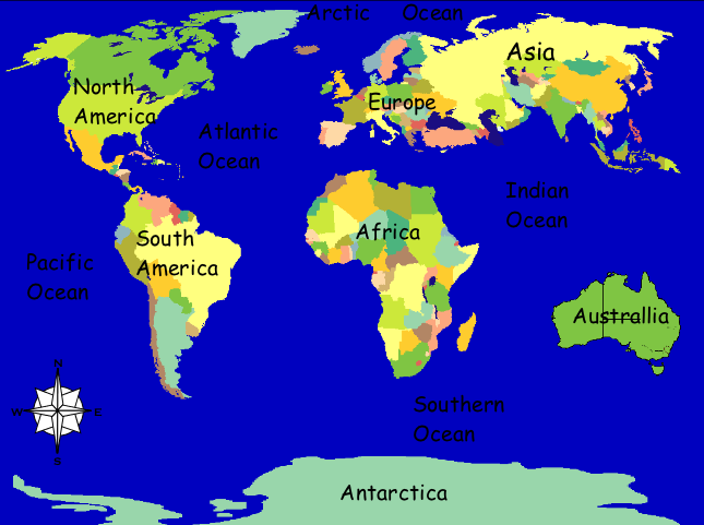 Httpwwwdigitaldialectscomgeographyoceanshtm Online Games - Major oceans of the world map