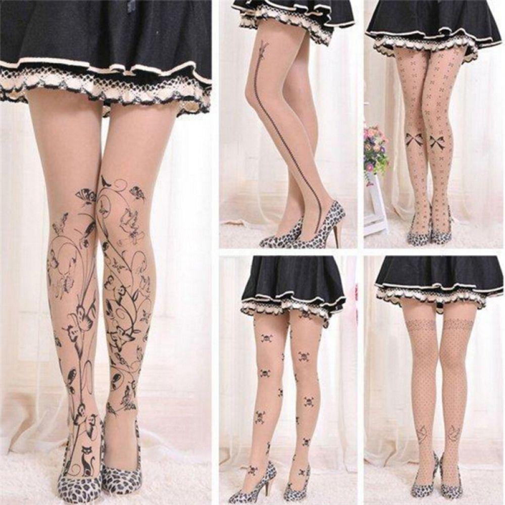Cute 6 Styles Tattoo Patterns Printed Ladies Tight