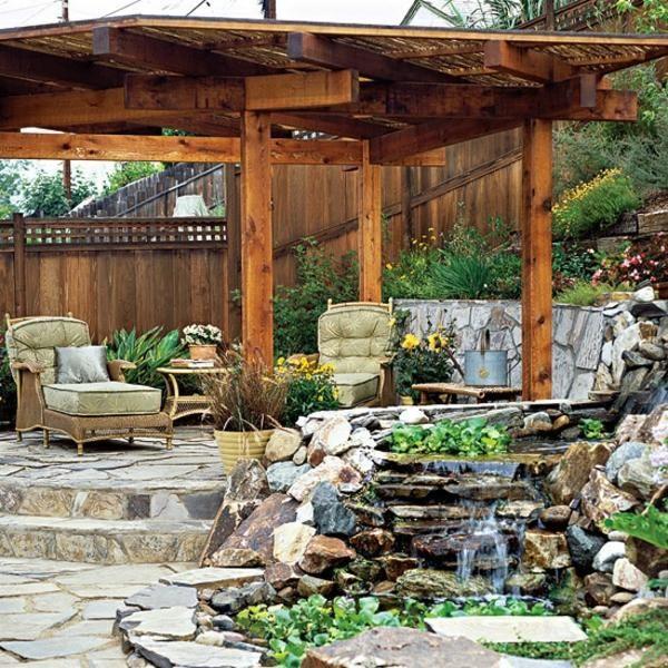 Pergola Ideen Garten Design Steinmauer Gartenmöbel Wasserfall ... Outdoor Patio Design Ideen
