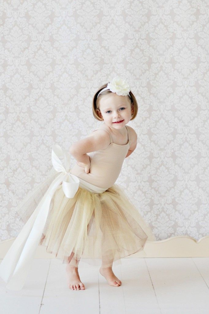 tutu skirt for girls, flower girl dress, Soft Tulle Champagne Gold Brown tutu PHOTOGRAPHY Bridal Weddings Flower Girls CUSTOM sewn tutus. via Etsy.  For a sweet sassy look that's not over the top.