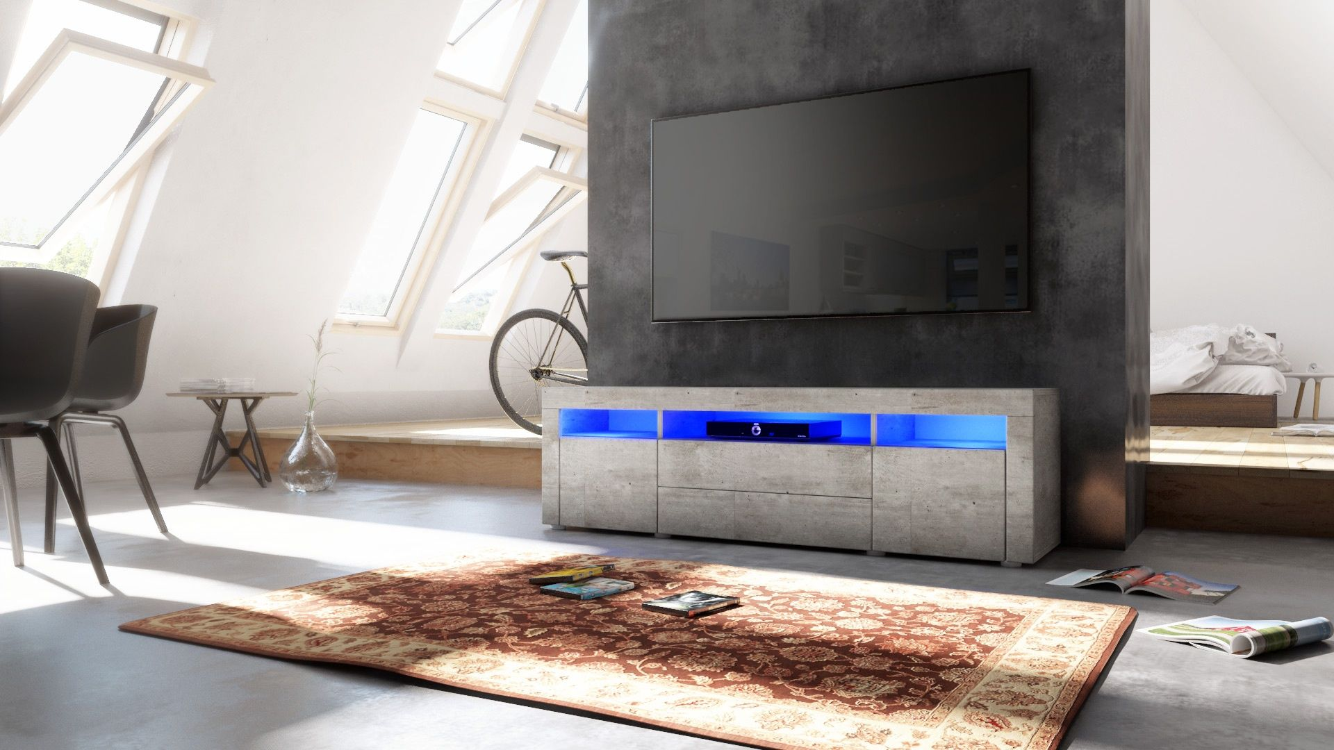 lowboard betonoptik perfect design tv lowboard onyx cm edelmatt wei betonoptik with lowboard. Black Bedroom Furniture Sets. Home Design Ideas