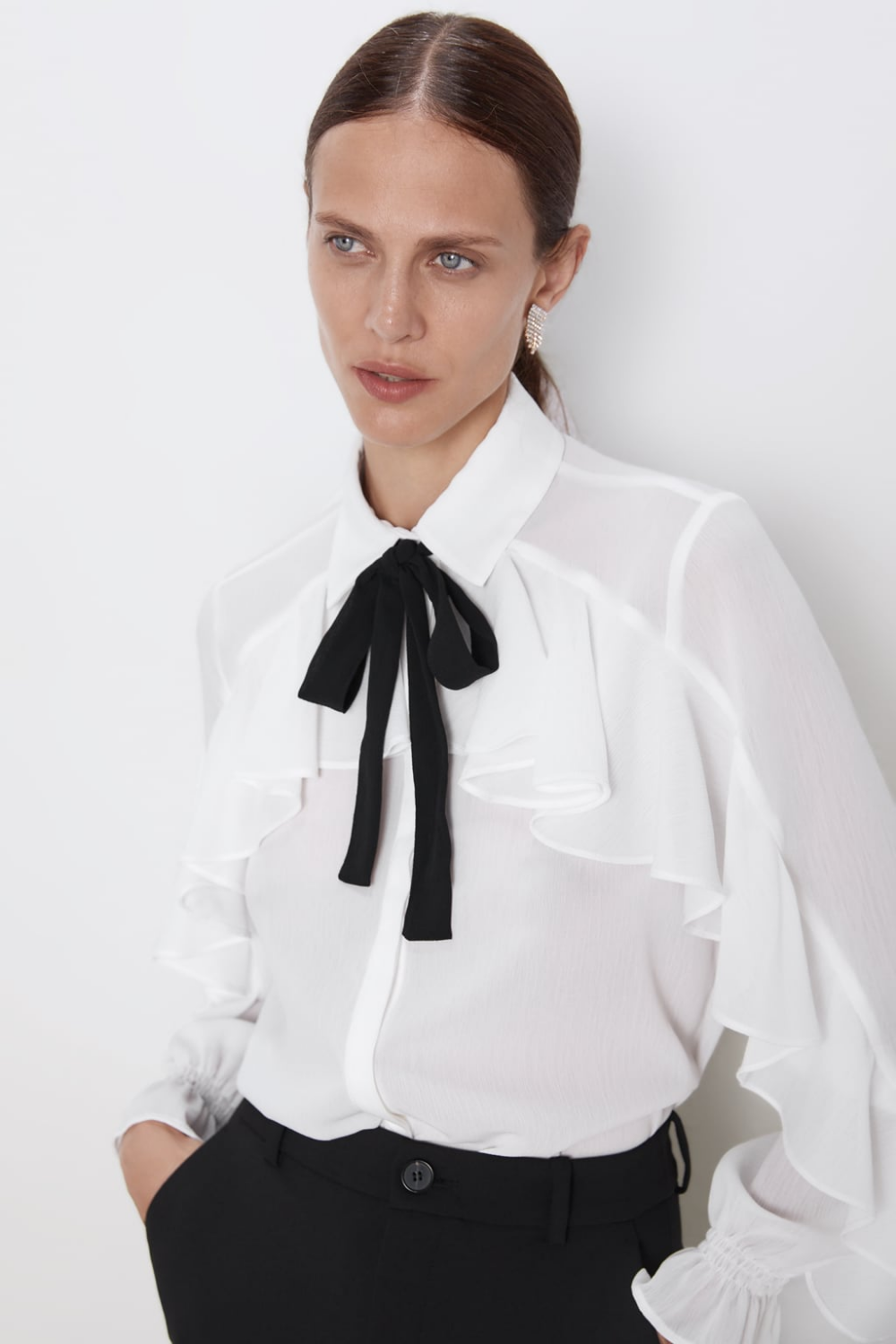 Ruffled Shirt With Bow View All Shirts Blouses Woman Zara United States Women Shirts Blouse Ruffle Blouse White Ruffle Blouse