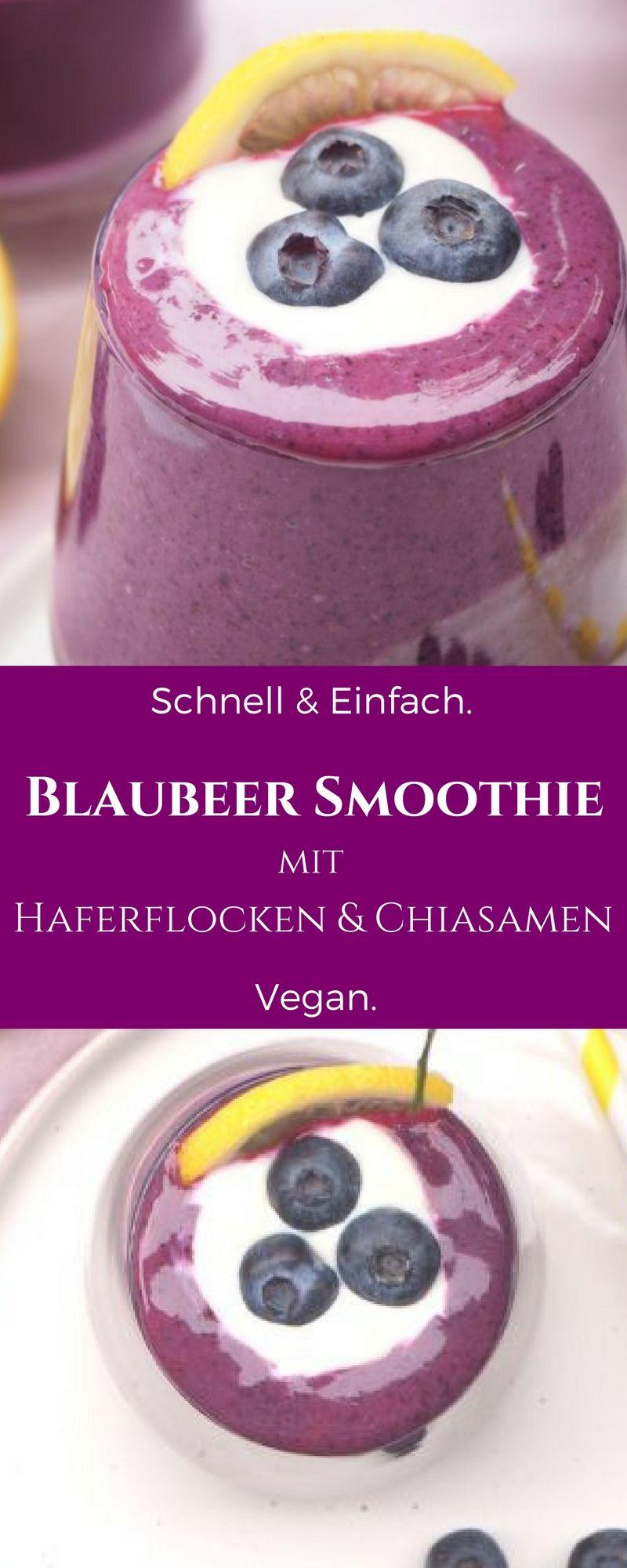Energie Kick Rezept – Banane Heidelbeer Smoothie – Vegane Rezepte – Schnell und einfach vegan kochen und backen. #strawberrybananasmoothie