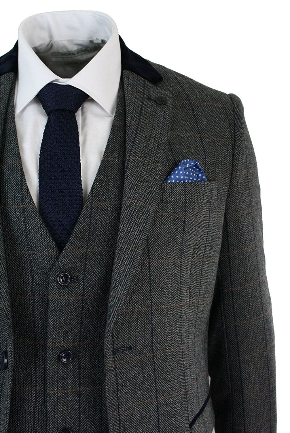 b92085972051 Marc Darcy Mens Check Vintage Herringbone Tweed 3 Piece Suit Slim Fit  charcoal grey | Winter Wedding Ideas * Read more reviews of the product by  visiting ...