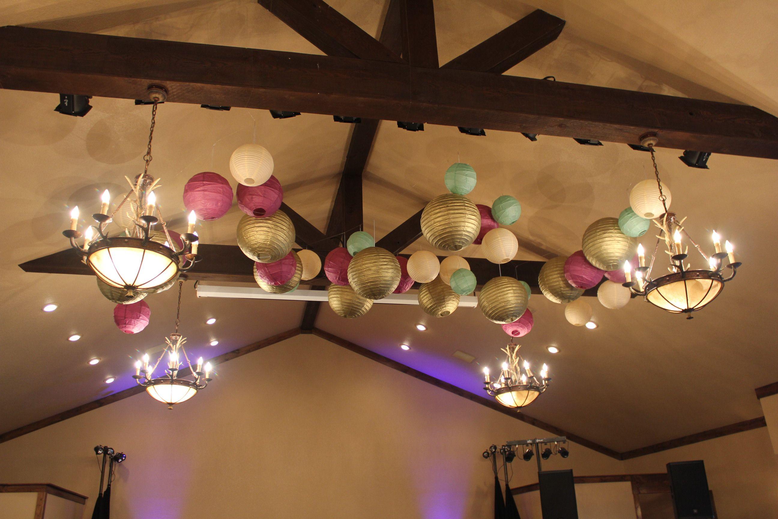 Paper lanterns above the dance floor. Paper lanterns
