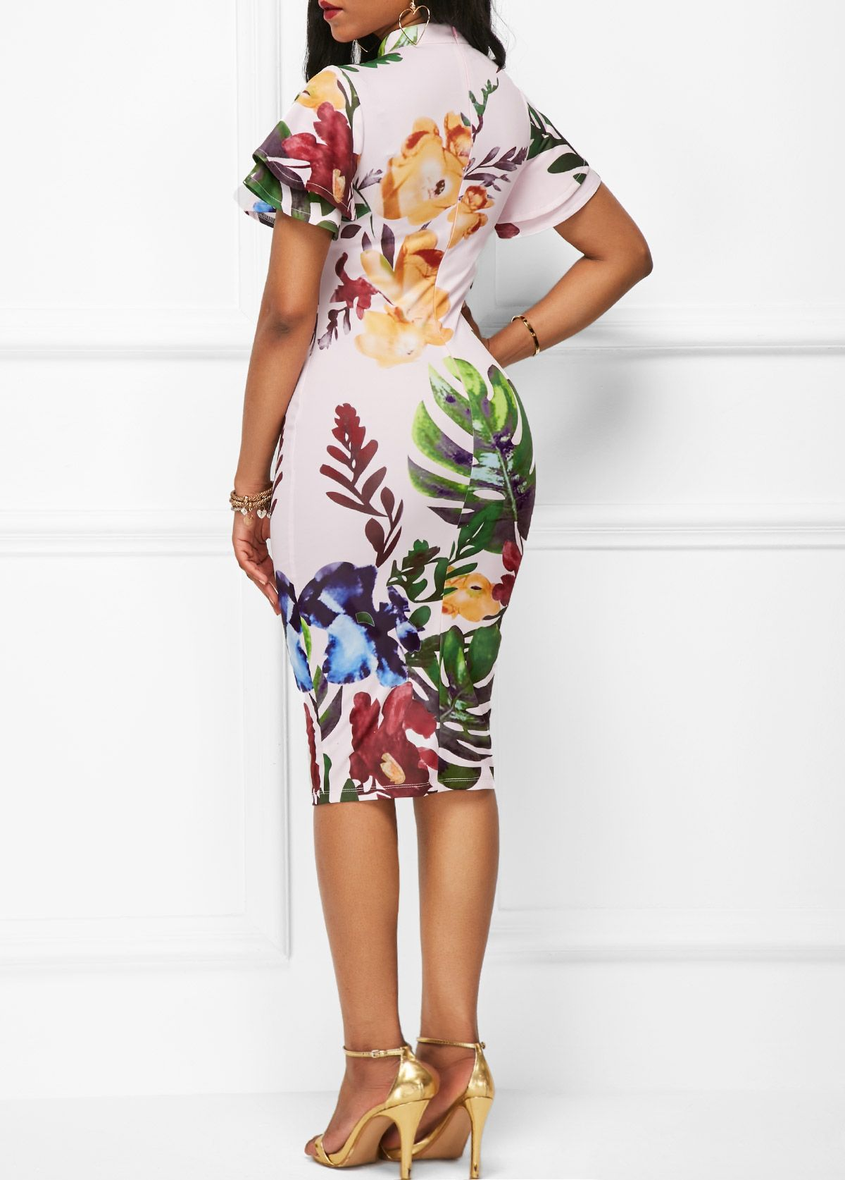 White printed high neck short sleeve sheath dress on sale only us