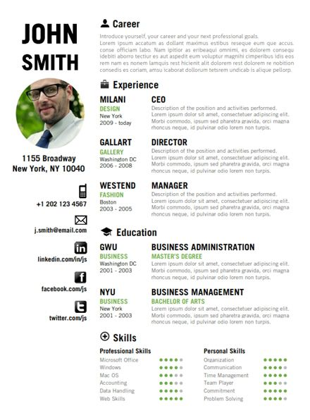 find the green creative resume template on