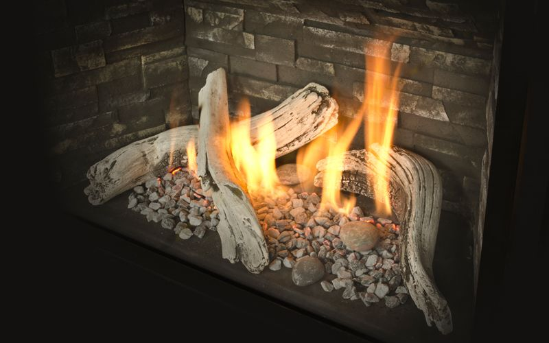 Valor H5 Series 1100i H5 Engine Shown With Decorative Glass Valor Fireplaces Gas Fireplace Glass Decor