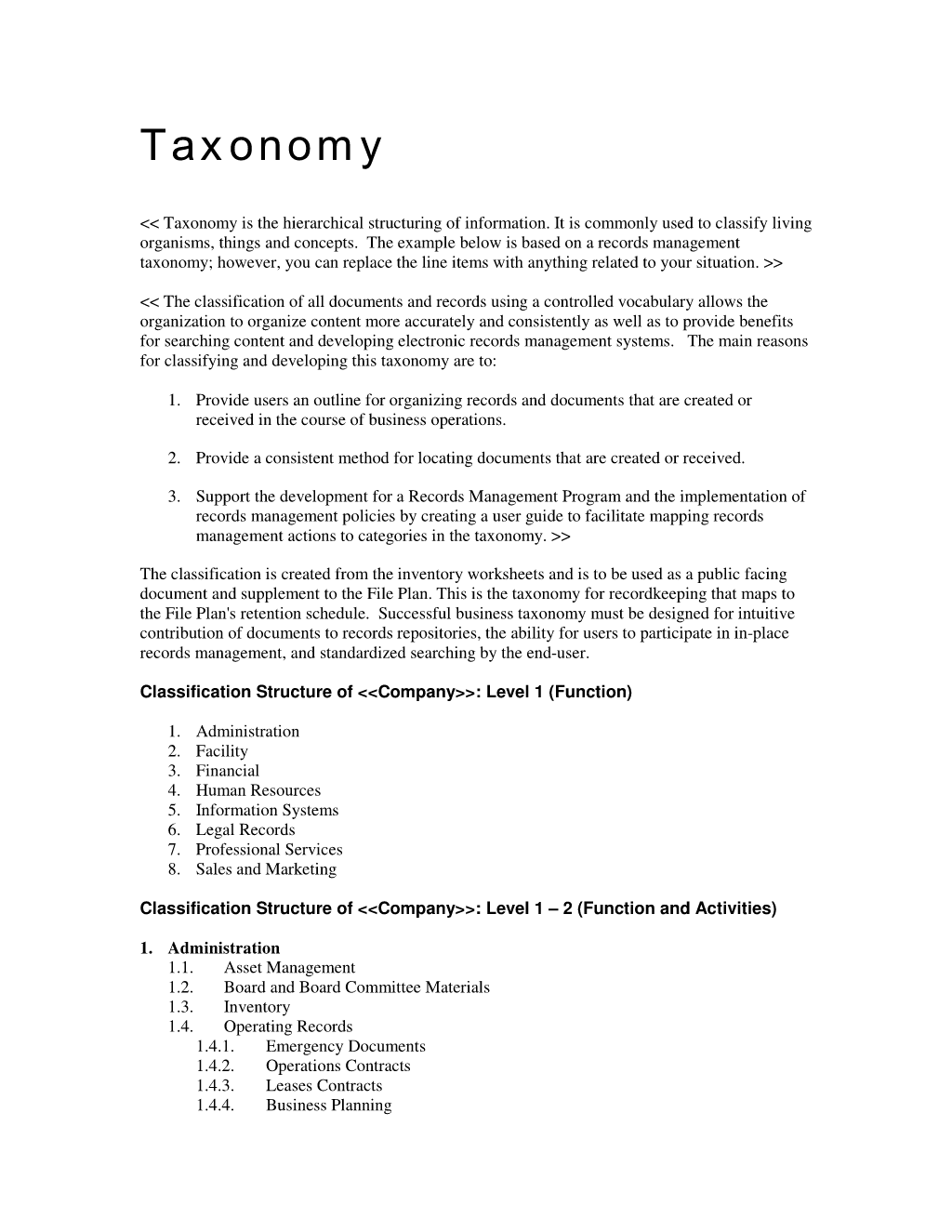Records Management Taxonomy Topic Template Records Management Project Management Templates Controlled Vocabulary