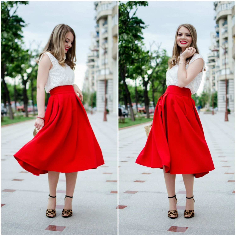 Pink wish feeling like a modern princess midi skirt red lace