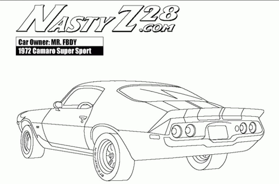 Printable Camaro Z28 Rear View Coloring Pages For Boys Letscolorit Com Camaro Coloring Pages For Boys Cool Car Drawings
