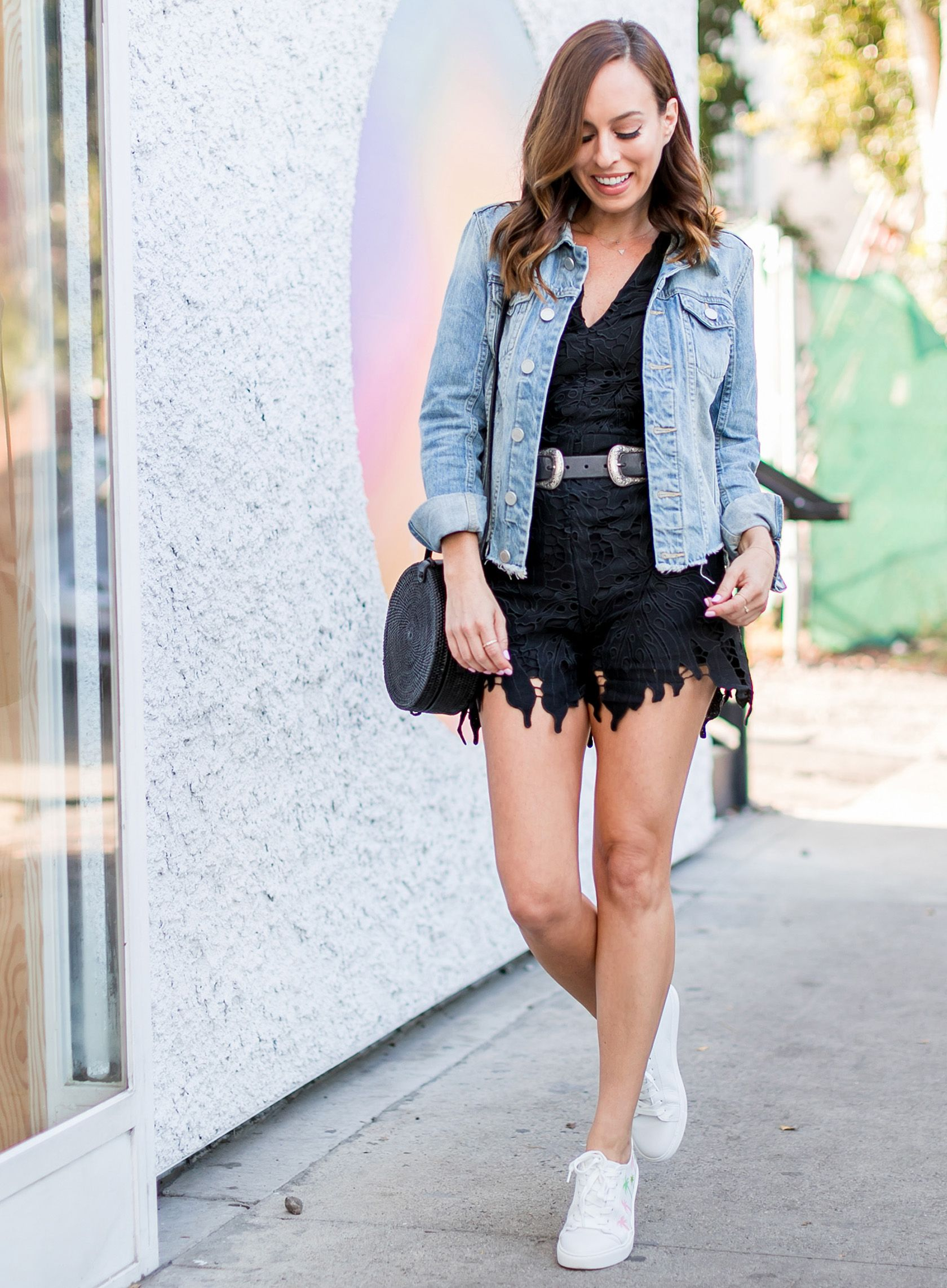 Sydne Style Shows How To Wear A Romper For Easy Summer Outfit Ideas Romper Lace Denimjacke Simple Summer Outfits Summer Fashion Outfits Basic Summer Outfits [ 2284 x 1680 Pixel ]