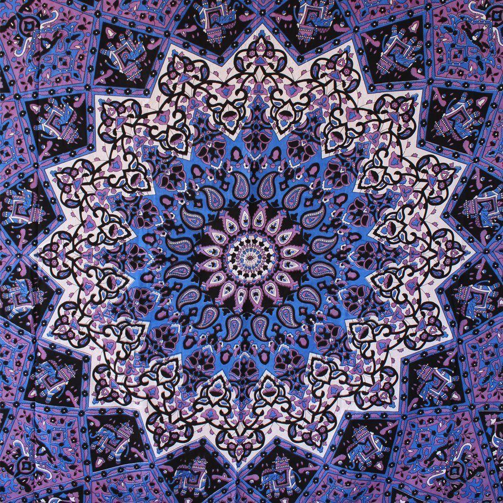 Popular Handicrafts Hippie Mandala Tapestry Blue Purple