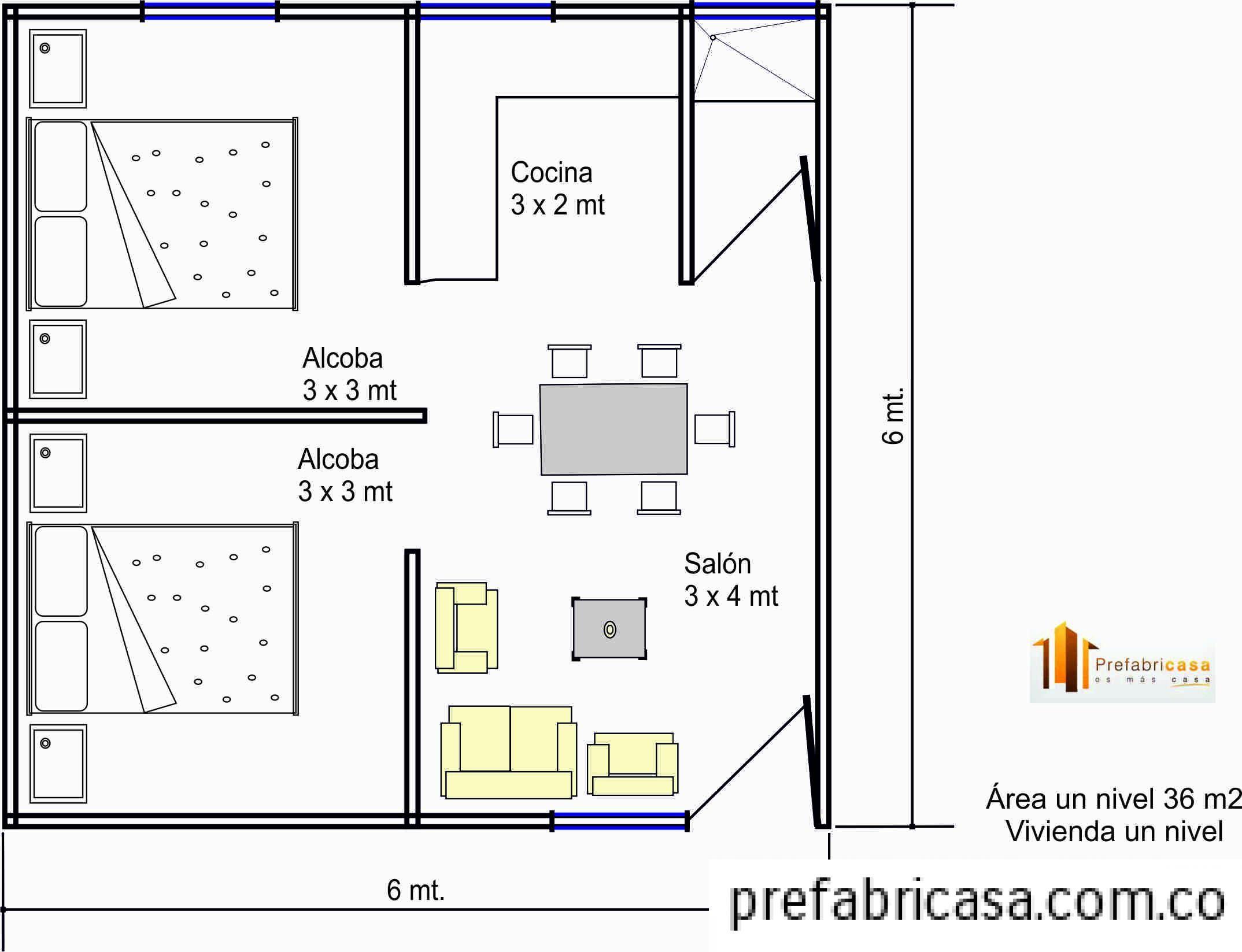 Casa prefabricada 36 mts2 proyectos a intentar Planos de casas 80 mts2