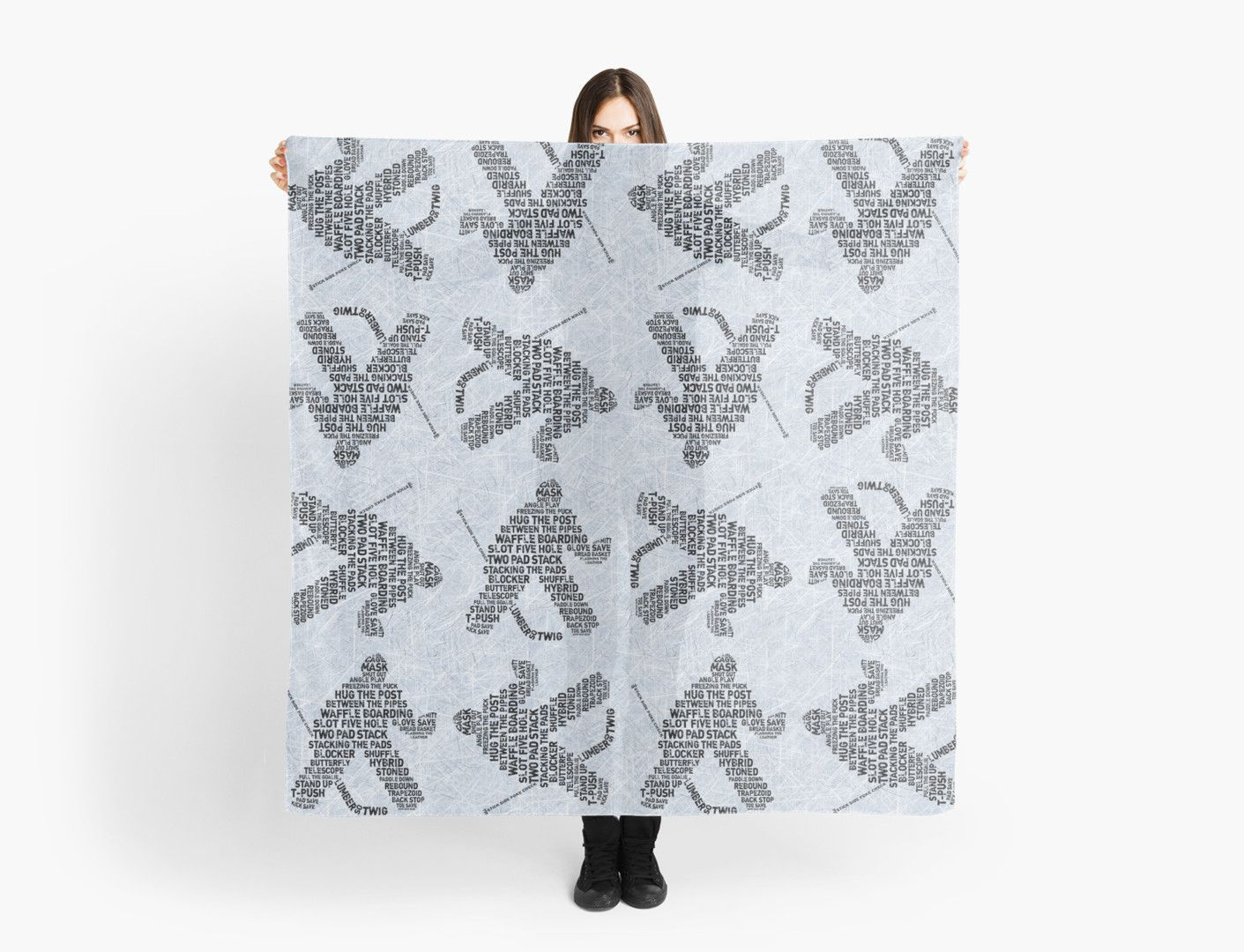 """""""Typographic Hockey Goalie Goaltender"""" Scarves by gamefacegear 