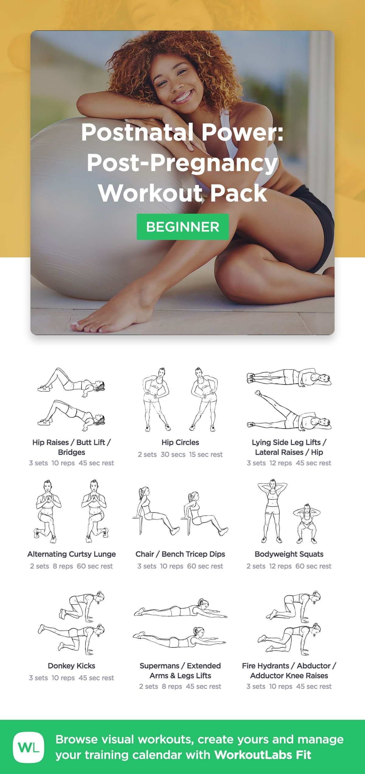 Postnatal Power Post Pregnancy Workout Pack by WorkoutLabs Fit