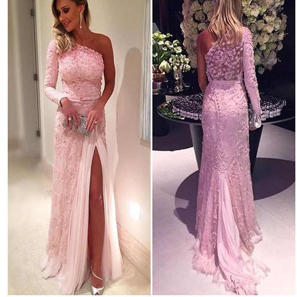 pink one shoulder appliques with long sleeves lace vintage prom