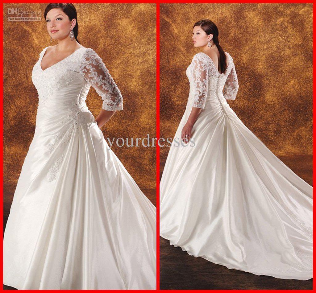 Plus size retro wedding dresses  Vneck Long Sleeve Lace Vintage Royal Train Waist Gathered Appliques