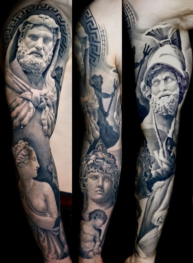Black and Grey Tattoos in London, Full Sleeves, Portraits, Realism and Surrealism by Alo Loco, UK