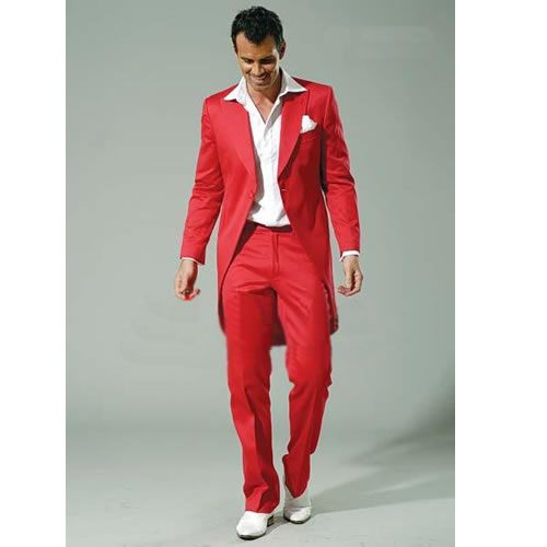 Custom Red 3 Piece Slim Fit Cut A Way Italian Wedding Prom Suits