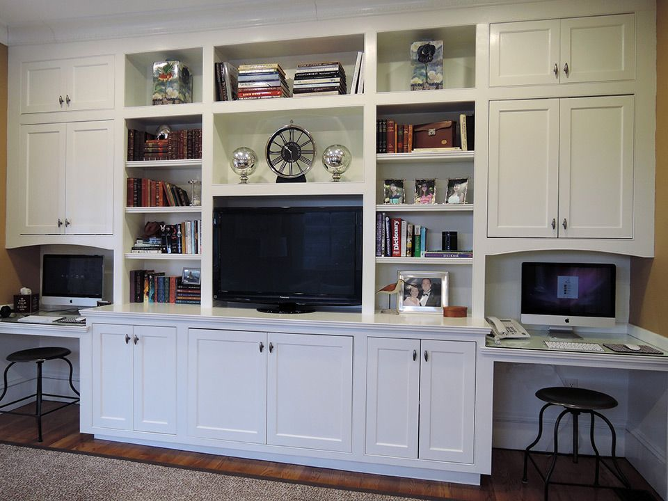 Family Room Den Built In Cabinets With Desks White